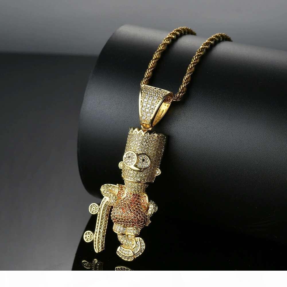 hip hop skate Simpson collares de diamantes colgantes de los hombres del oeste de dibujos animados de lujo collar de oro verdadero plateado circones de cobre joyería