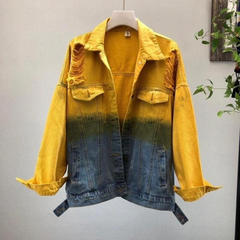 Tinturaria impresso multi Pockets Denim Jackets Feminino Moda Personalidade Graffiti Único Breasted jaqueta era magro Casacos Wq1689 8FIJ #