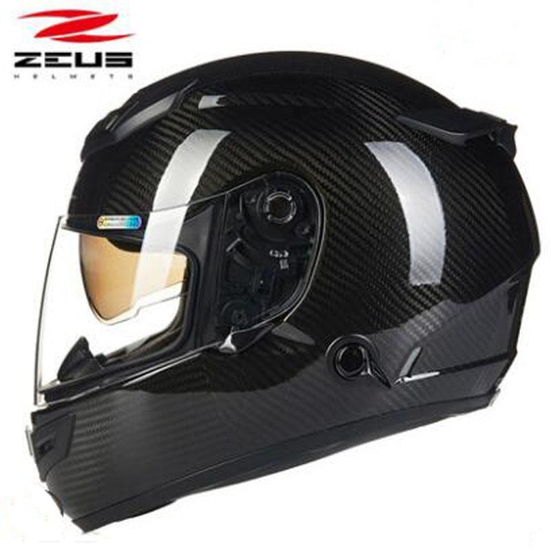 ZEUS fibra de carbono de la lente doble casco de la motocicleta de la cara llena de Motobike Racing Cascos Casque Moto cuatro estaciones Ultraligero Sombrero
