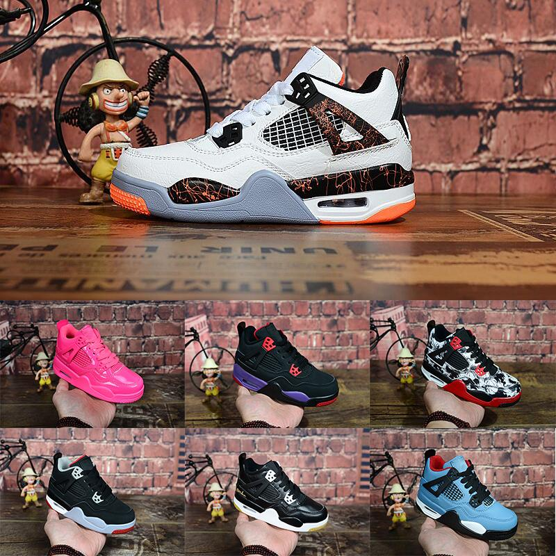Childrens 4s Cool Grey Kids Basketball Shoes Pink Berry University Blue TATTOO 4 Children Athletic Sneakers Boys Girls Sports Trainers