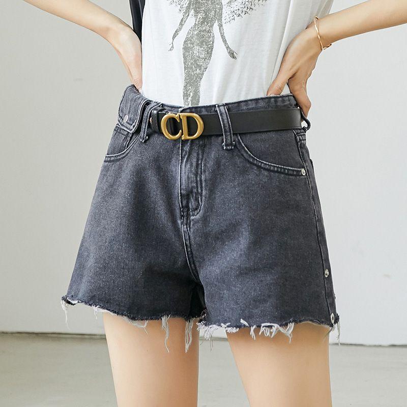 New jeans feminina shorts soltos Lavados de Burr coreano-Style Shorts Mulheres perna larga Slimming Denim