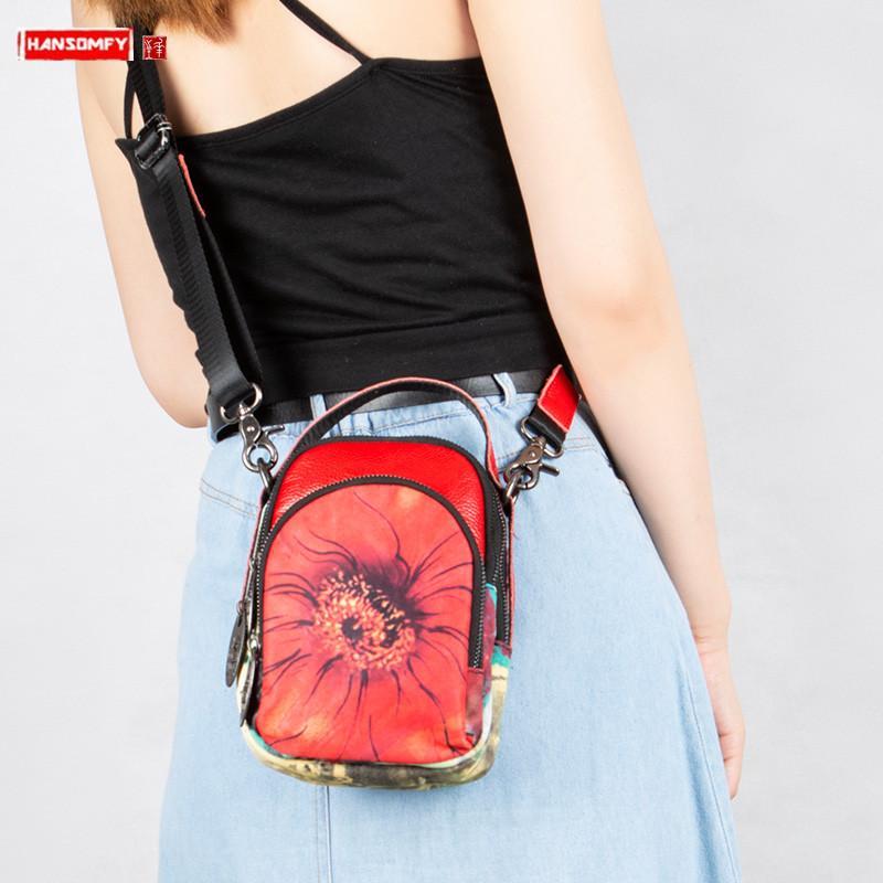 2020 Nuova tela di canapa con il pacchetto delle signore delle donne a tracolla in pelle Diagonale piccolo sacchetto femminile Fiori borsa di modo Mini Crossbody Borse