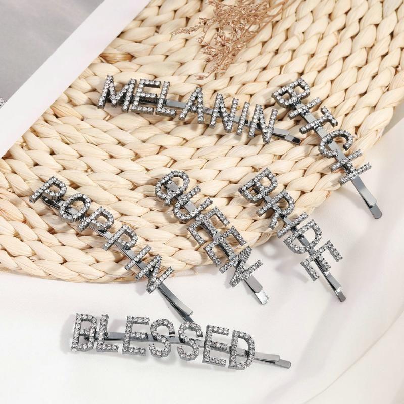 Chic palabra de las horquillas horquillas Rhinestones pavimentadas nombre para el cabello clips chicas con armas de fuego negro cristal bling nupcial Styling Tool Barrette