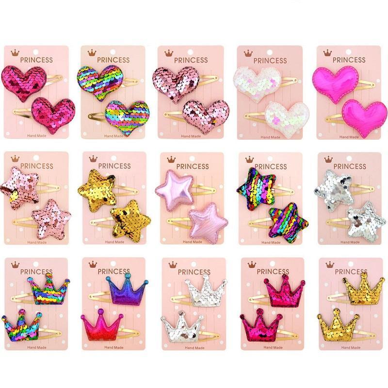 1set 2Pcs Love Heart étoile Couronne Doux enfants filles Barrettes épingles à cheveux pince à cheveux KDIS Accessoires cheveux Belle Huilin