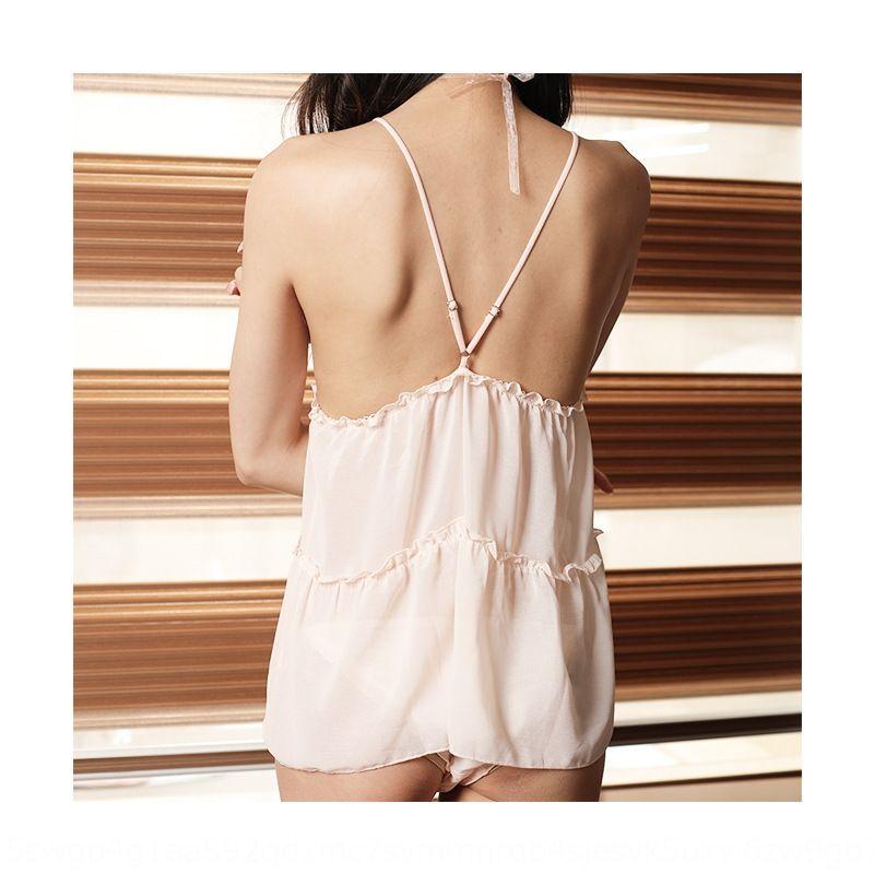 OQwV6 Nueva honda falda de gasa con cuello en V Sistema atractivo atractivo de la gasa perspectiva falda de las mujeres liga sin respaldo camisón