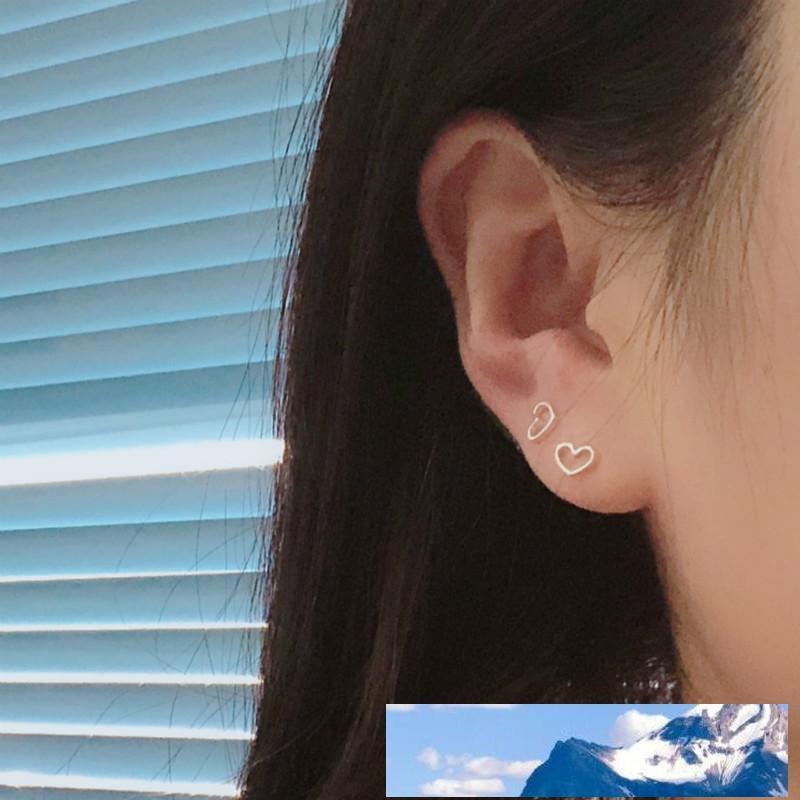 Sterlingsilber-Herz-Ohrringe für Frauen-Höhle-Herz-Bolzen-Ohrringe Persönlichkeit Earings Art und Weise Schmuck 2018