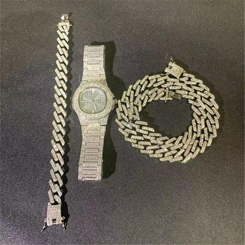 Hip Hop Necklace +Watch+Bracelet Bling Iced Out Miami Zircon Cuban Full Pave Rhinestone Men Bracelet Necklace For Men Jewelry