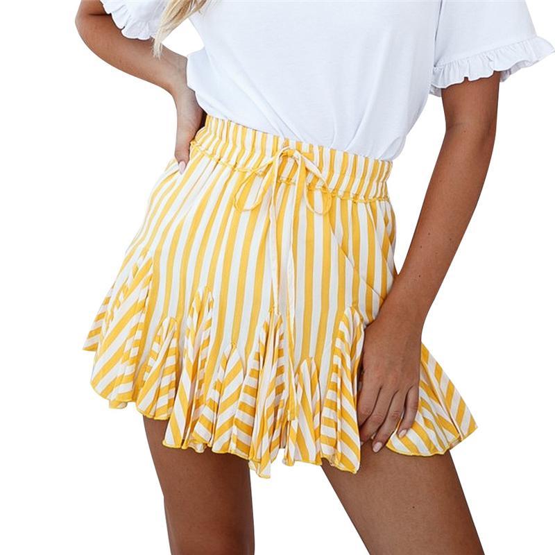 Giallo a strisce Stampa Estate gonna corta Le donne 2020 di moda coreana vita alta Tutu Pieghe Mini Skirt Sun scuola femminile Beachwear