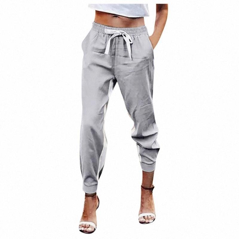 Sólidos Yoga Calças femininas Calças soltas Casual Calças All-Match bolso cintura alta Elastic Cintura Calças Palazzo # LR2 cO72 #