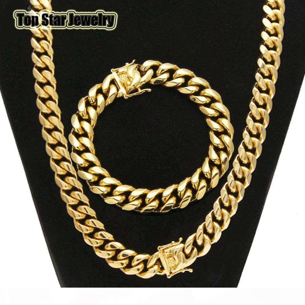 Pulseras joyería fija de alta calidad en acero inoxidable chapados en oro de 18 quilates Dragón Latch Corchete cubanos de acoplamiento del collar Para Hombres 1.4cm cadena del encintado ancha