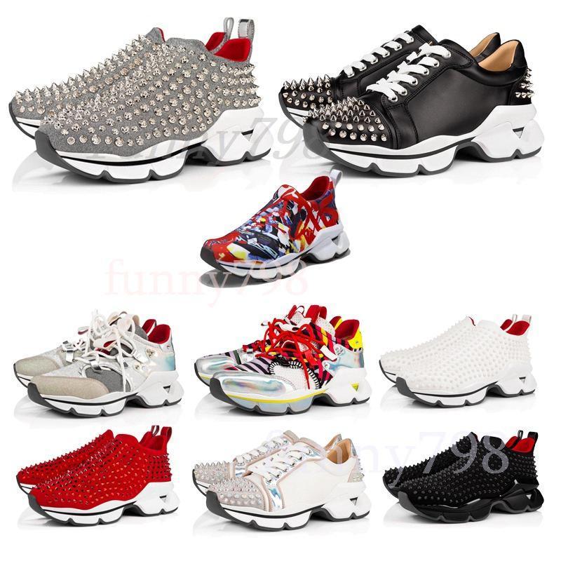 2020 mulheres homens unissex sapatos melhores partes inferiores vermelhas Sneakers Partido Personalidade alta sola de couro High Top Studded Spikes Sneakers fc2b #