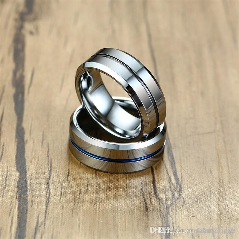 J61 Mischauftrag Valentinstag Geschenk 8mm Herren-Ringe Wolfram Ring Wolframcarbid Ring Männer Ringe Schmuckstück Fabriklieferant Tropfen shippin