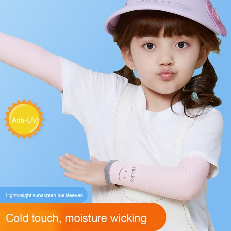 1 paio Esecuzione biciclette Protezione UV Raffreddare manicotti del braccio per i bambini / ragazzi UPF 50+ raffreddamento Sunblock Maniche