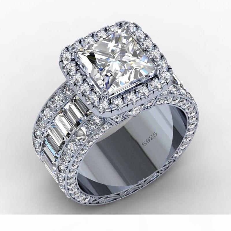 Diamond 3ct Vintage Aşıklar Mahkemesi halka kadınlar erkekler Parmak Takı Hediyesi için 925 ayar gümüş nişan düğün bant halkası