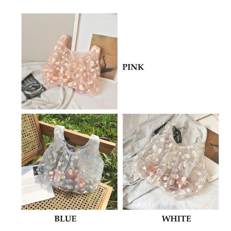 Mujeres de la flor del cordón de bolsa transparente niñas de compras bolsos de viaje lindo de flores de tul fruta del monedero del bolso Bolsa de la compra