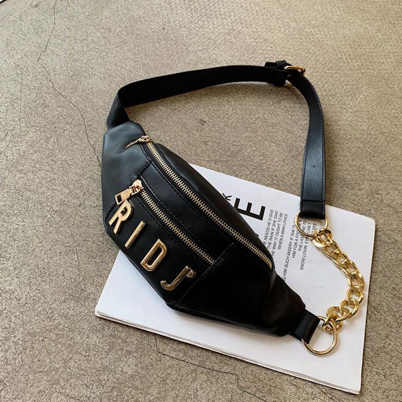 Frauen-Gürteltasche Mode Brief Fanny-Satz PU-Leder-Gürteltasche weibliche Kette Umhängetasche Brusttasche Banana Hip Bag Kleine Tasche MX200717