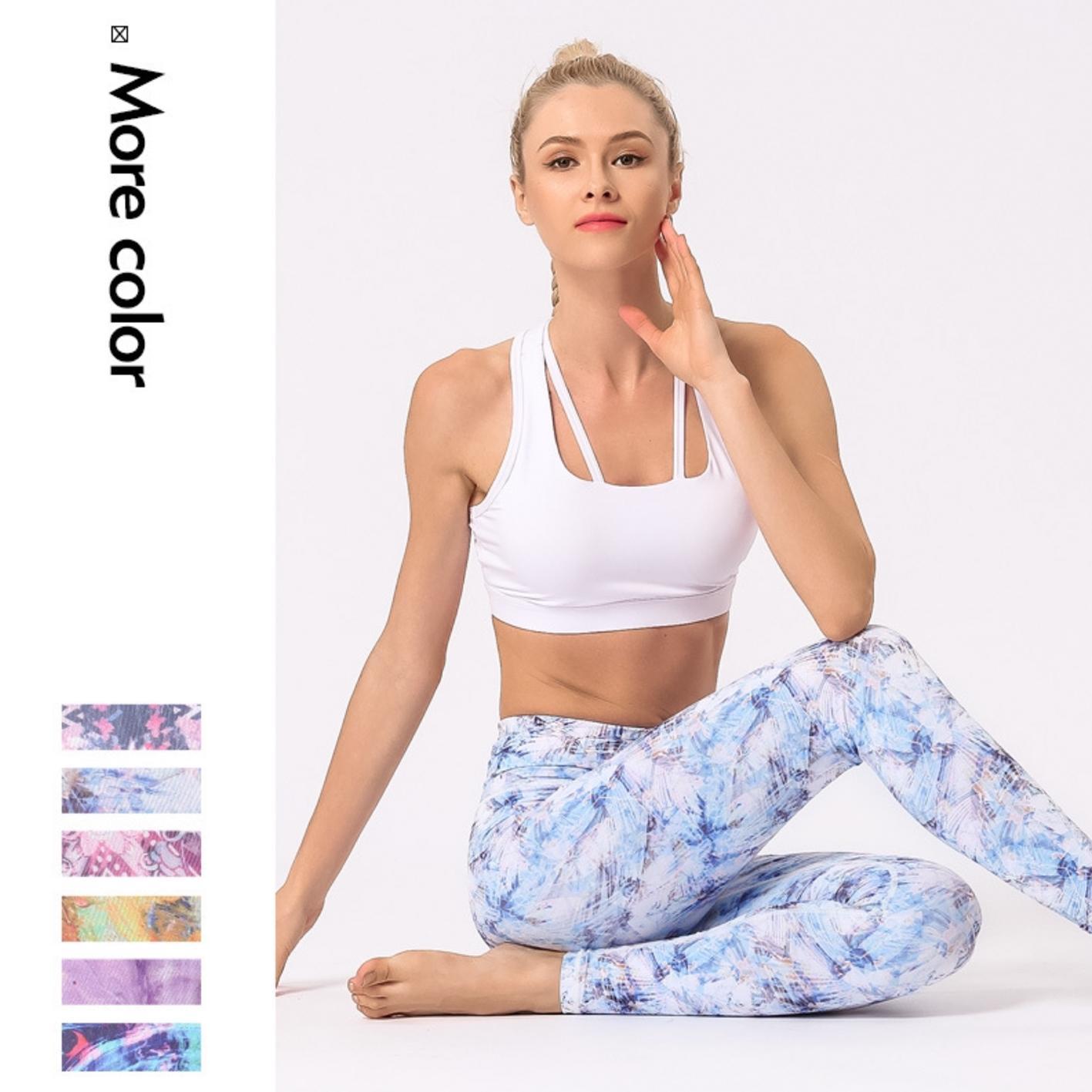 Neue schnelle hohe Stretchdruck-Yogahose für Frauen Bewegung und Fitness atmungs Lift Hüfte Blumen Strumpfhosen für Frauen trocknen