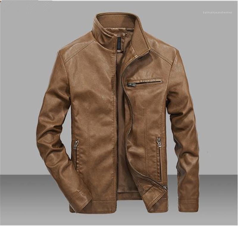 Motosiklet Windproof Erkek ceketler Katı Renk Hafif Kalın Erkek Tasarımcı ceketler Uzun Kollu Standı Yaka Palto PU Deri