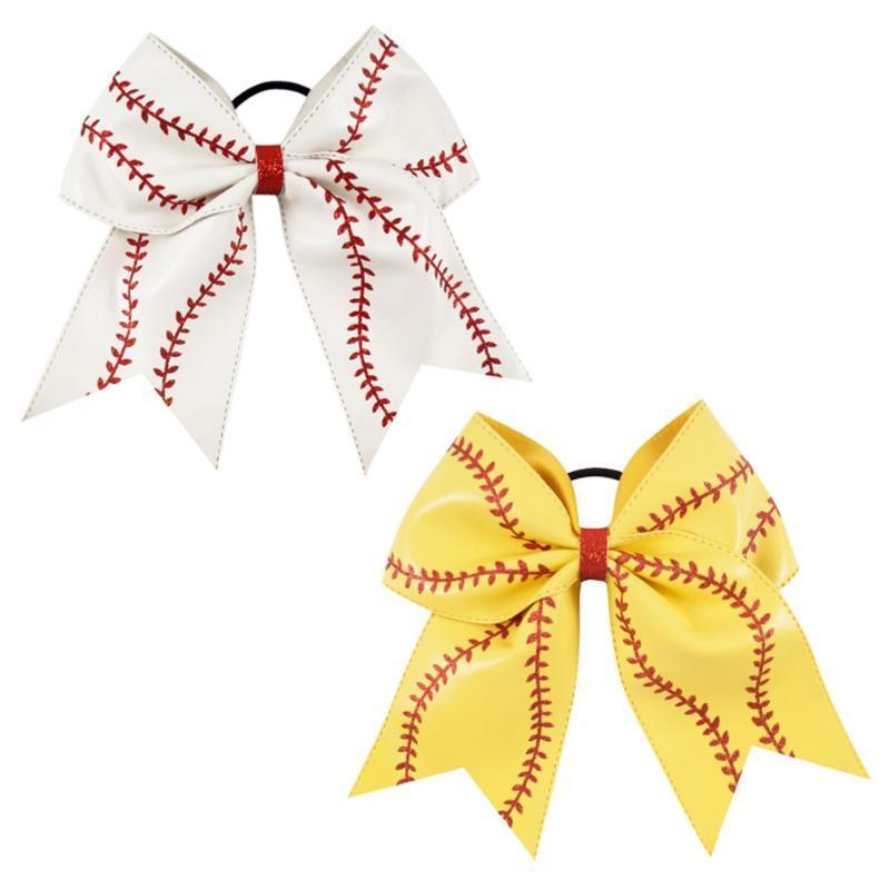 "Kız Çocuk El Yapımı Glitter Softbol Amigo Saç Bow ile at kuyruğu Tutucu Saç Aksesuar 7"" Deri Beyzbol Cheer Bow"
