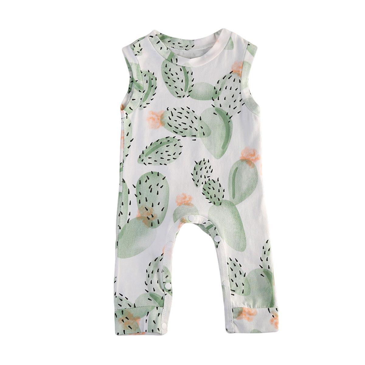 Ropa de bebé recién nacido para niños muchachas de los bebés de cactus sin mangas del mono del mameluco del algodón del equipo Conjunto T200727