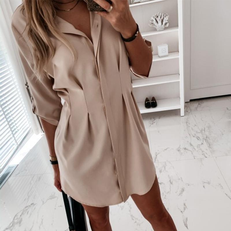Coreano a pieghe casuali shirt Solid tunica bianca Midi maniche lunghe allentate camicia femminile 2020 parti superiori delle signore di estate di nuovo modo di