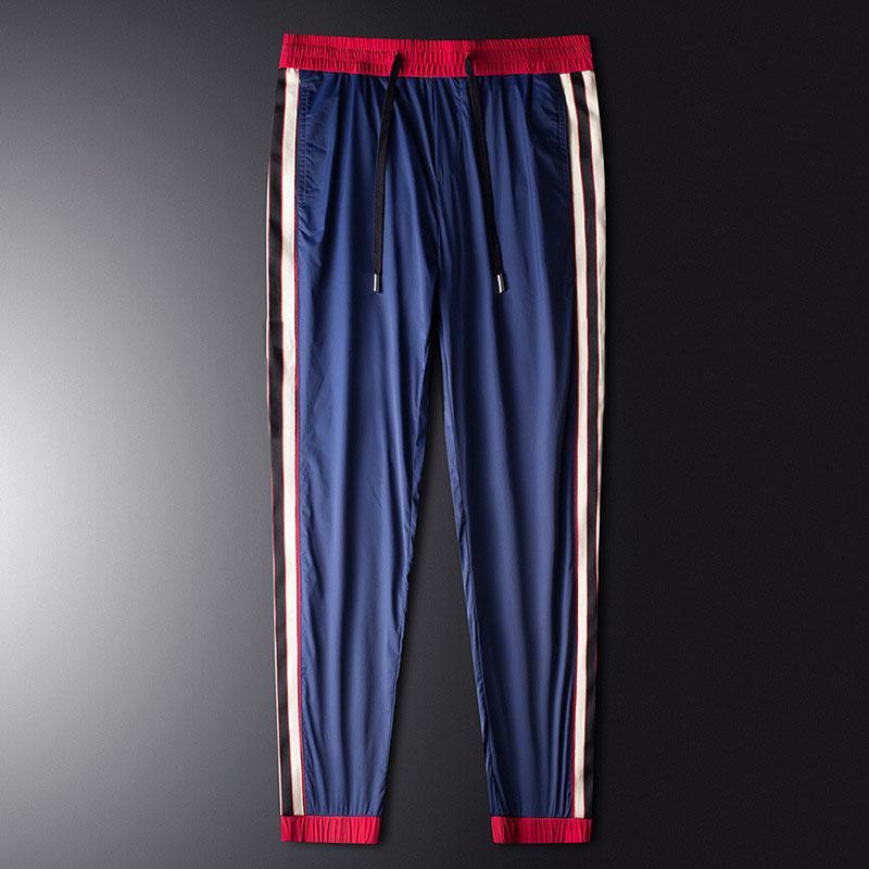 Tasarımcı Erkek Pantolon 2020 Yaz Moda Yeni Erkek İnce İnce Full Uzunluk Pantolon Erkekler Rasgele Nefes Spor Pantolon 3 Renkler Boyut M-5XL