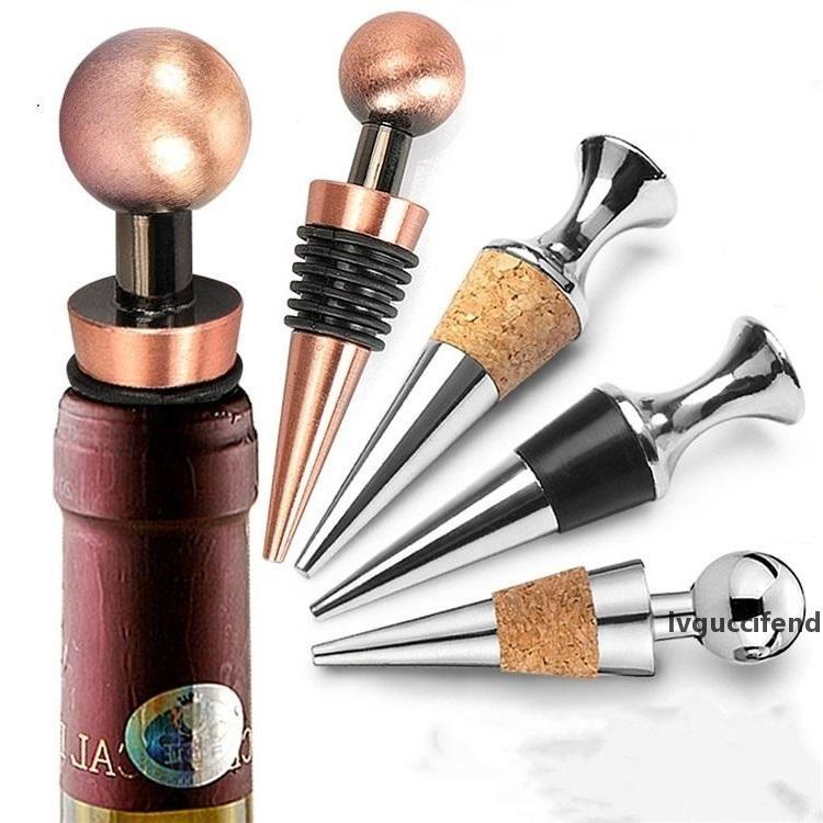wine bottle stopper wood stopper stainless steel champagne stopper vacuum seal wedding Wine props T3I5550