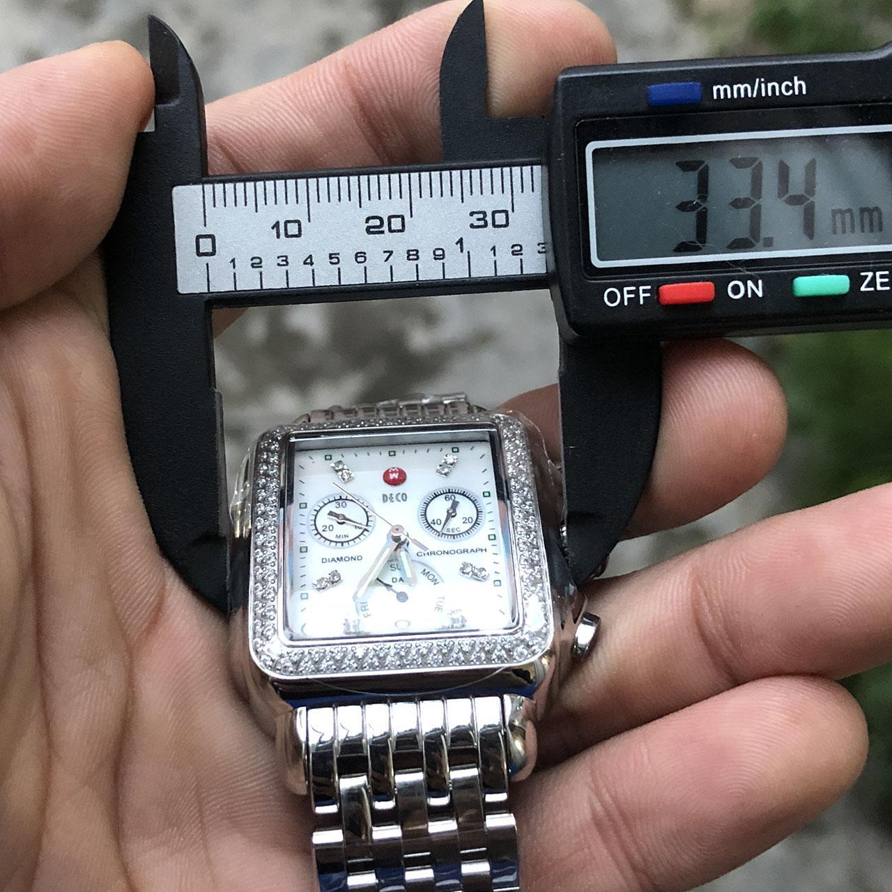 3 color del reloj Michele Firma diamantes DECO MOP Shell Dial 33 mm MWW06P000099 señora relojes del diamante Marca del movimiento del cuarzo de las mujeres