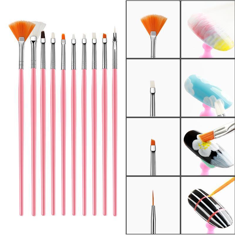 15PCS ongles Brosses Builder Peinture Gel Polish Liner Nail Art Dessin Imprimer Pinceaux manucure bricolage parsemant point Kits d'outils
