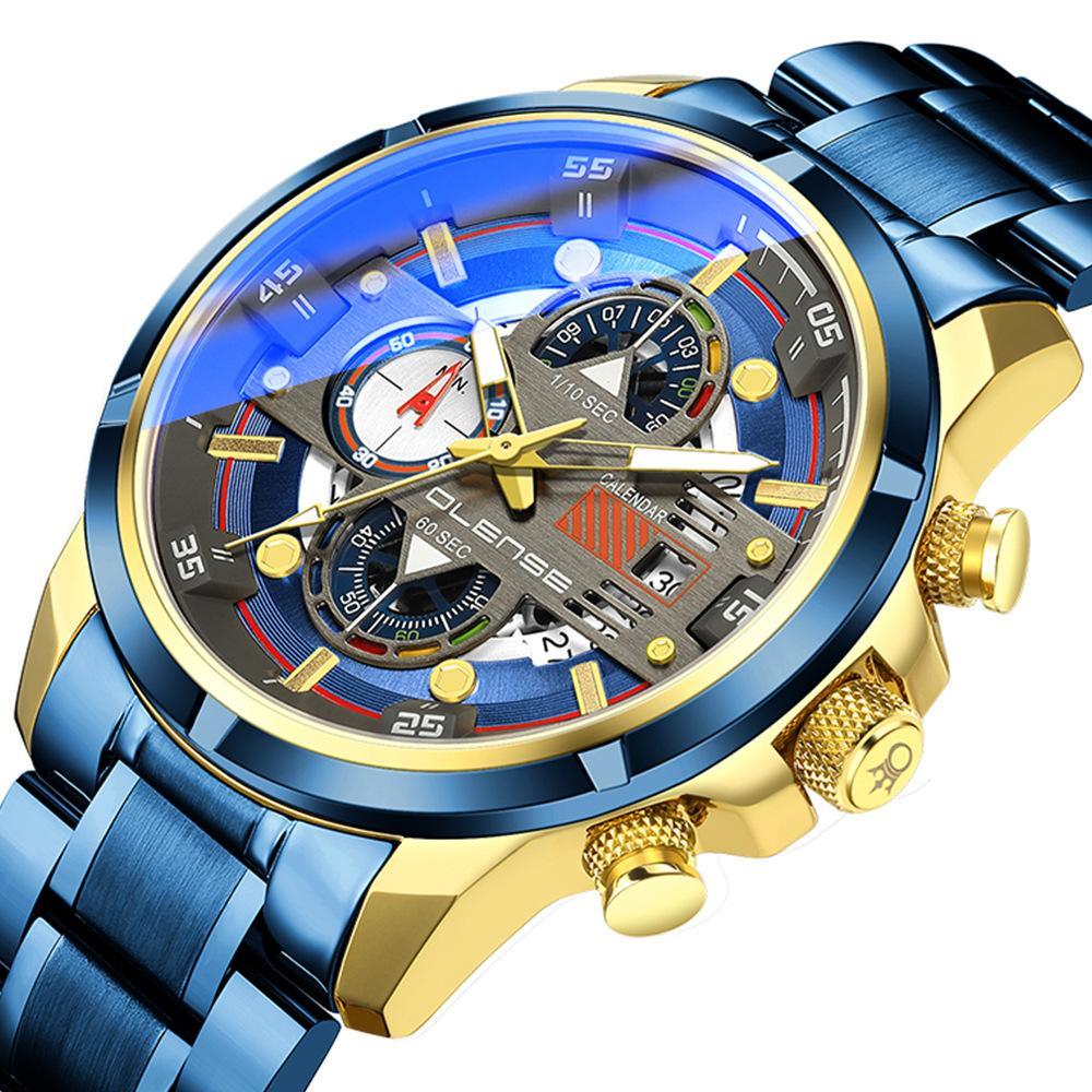 Neue Mens-Sport-Uhr-Edelstahl-Multi-Funktions-BlueRay Art und Weise wasserdichte Uhr