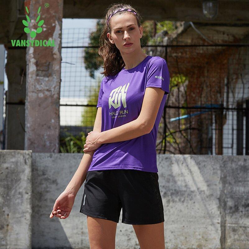 Идущие Наборы Vansydical Женских Фитнес Спортивных костюмы Quick Dry Спорт футболка Центр Открытых Спортивные тренировки спортивных костюмы