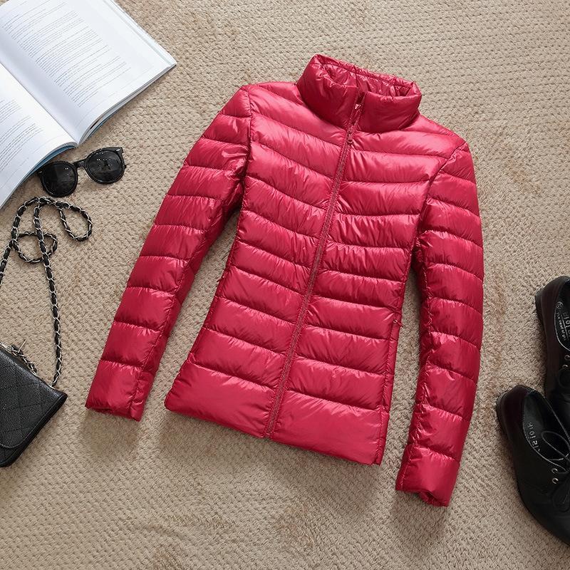 eSnnk 2020 Herbst Kragen Winterjacke abspecken Ständer und beiläufig plus Größe nach unten Kurzer Jacke kurz ultra-dünne Schicht Top-Frauen