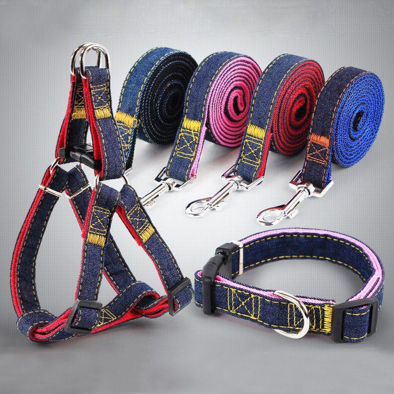 الحيوانات الأليفة كاوبوي سلسلة حبل قابل للتعديل تسخير الكلب مع مقود الكلب النايلون مقود لجرو أزرق وردي
