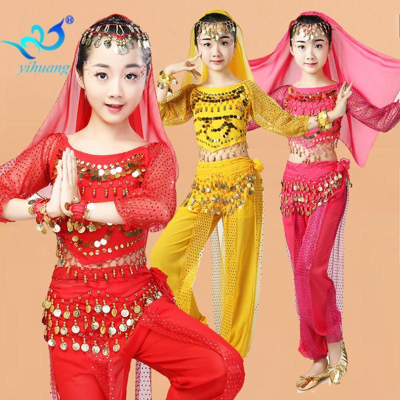 Abra la danza de vientre traje de Halloween niñas Jugar con trajes de fiesta de rendimiento niños Bollywood Music Festival monedas lentejuelas Set