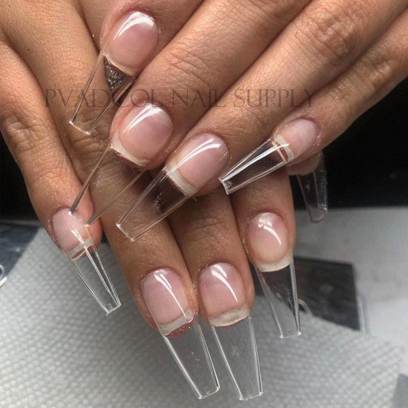 Gel X Nails Extension System Full Cover Sculpted Clear Stiletto Coffin False Nail Tips /Bag Nails Acrylic Nails Supply From Huangcen, QAM1#