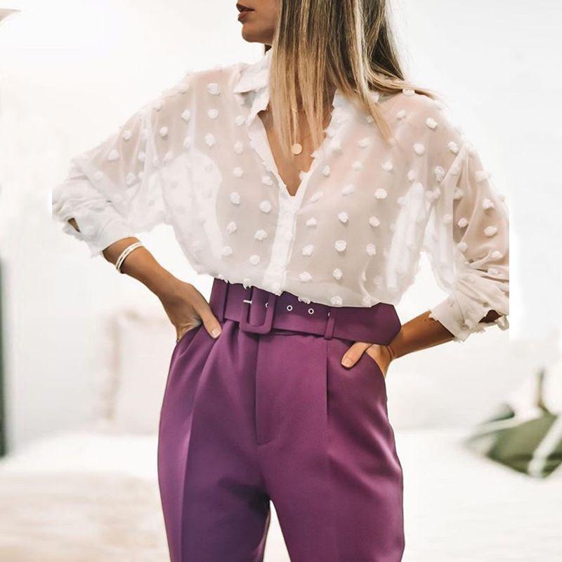 Aachoae Frauen-weiße Spitze Chiffonbluse Langarm-Tupfen-Stickerei-Hemd Mode-Down-Kragen Büro Bluse Blusas T200722 Drehen