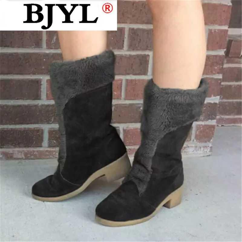 2020 New Winter Women Mid-calf Boots Fashion Keep Warm Women Cotton Shoes Vintage Turned-over Edge Mid-calf Boots Botas Mujer