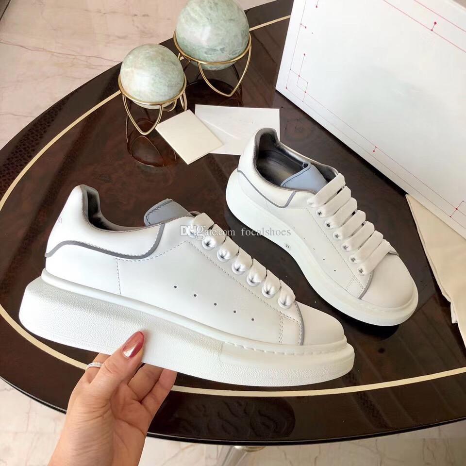 Lüks Erkekler Ayakkabı Platformu Yansıtıcı Sneaker Kadınlar Casual Ayakkabı Beyaz Deri Büyük Boy Sneaker Tasarımcı Platformu Ayakkabı Chaussures Espadrilles