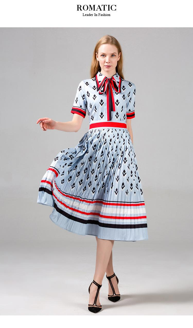 Mujeres vestido plisado Polo de manga corta cuello geométricos vestidos de impresión 100% poliéster Señora y vestido ocasional del verano de la muchacha