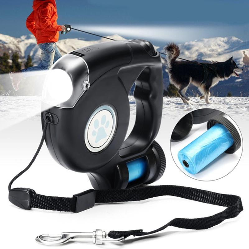 FREE Shipping 4.5M LED Flashlight Extendable Retractable Pet Dog Leash Lead with Garbage Bag