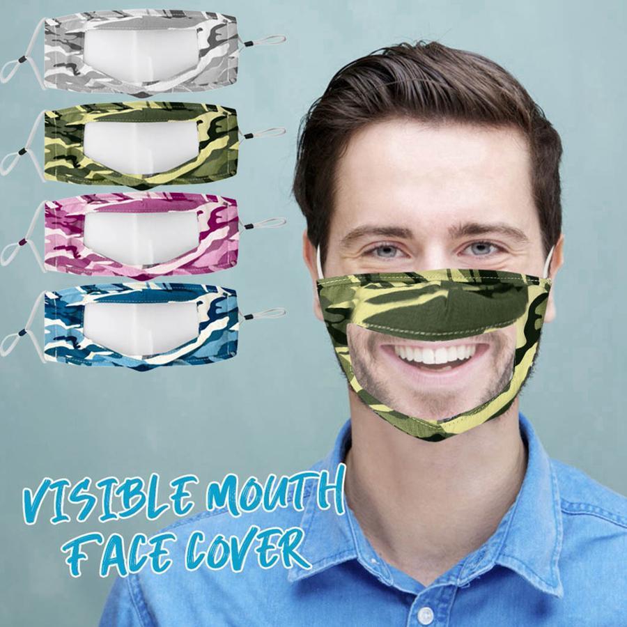 Şeffaf Yüz Anti Toz Antifog Temizle Tasarımcı Yüz Maskesi RRA3245 4styles Kamuflaj Yıkanabilir Yeniden kullanılabilir Maskeler Maske