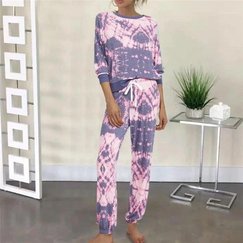Kadınlar Casual Gevşek O Boyun Yarım Kol İki Adet Pantolon Yeni Kadın Ev Giyim Giyim Tie Boyalı 2 Parça Setler