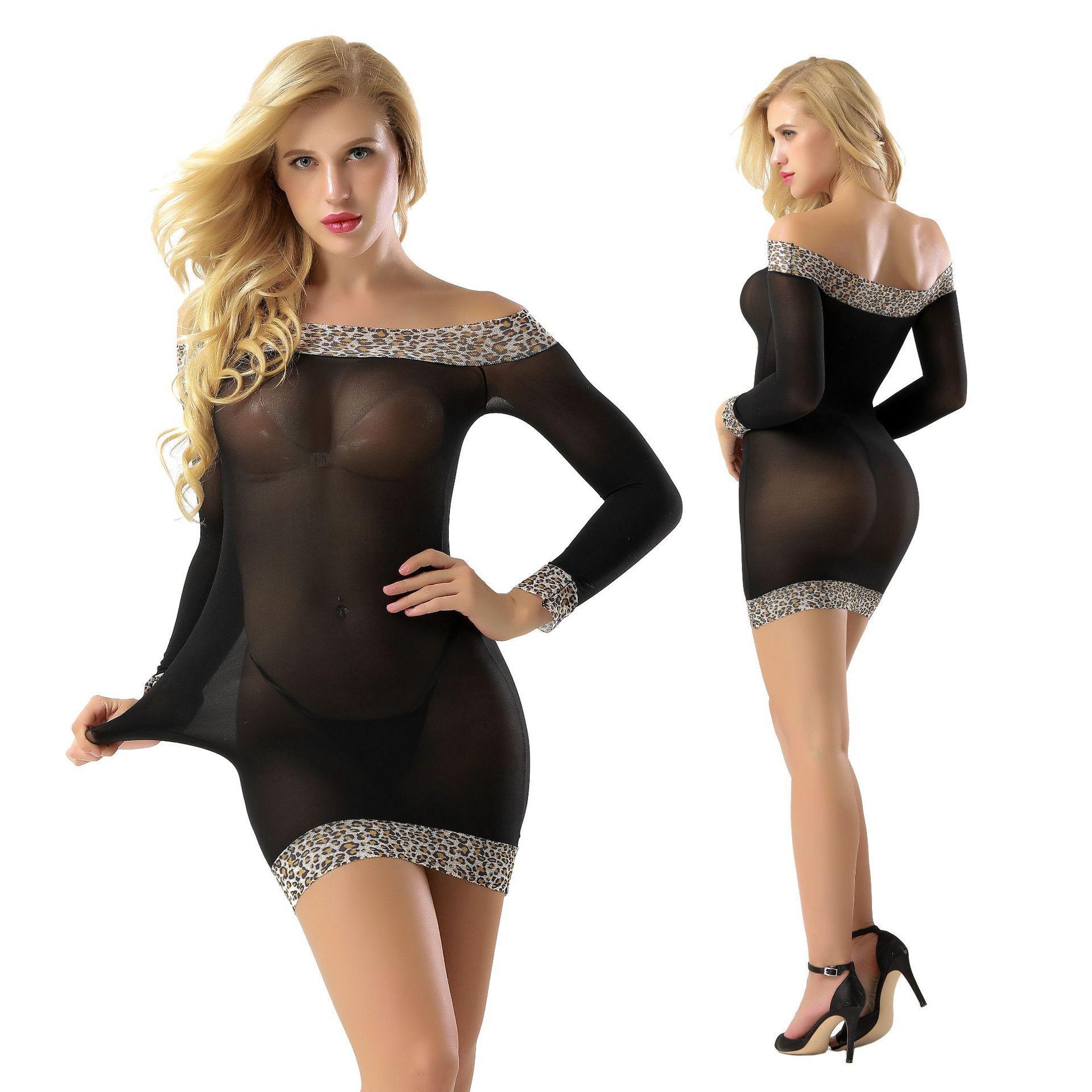 Sexy érotique Babydoll imprimé léopard Jupe ouverte épaule dentelle Lingerie Sexy Hot Caliente sexy Sous-vêtements Lingerie Costume
