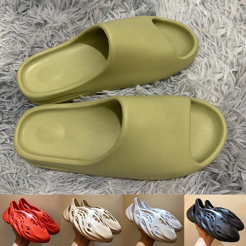 2020 Yeni Yaz Kanye West Desert Sage V2 Erkek Kadın Moda Nefes Terlik Tasarımcı Marsh Keten Erkek Eğitmenler Slaytlar Sandalet Boyut 36-45