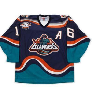 Donna-Uomo della gioventù Vintage Men # 16 Ziggy Palffy 1997-1998 Fishsticks New York Islanders Pescatore rara maglia azzurra Lettera della squadra