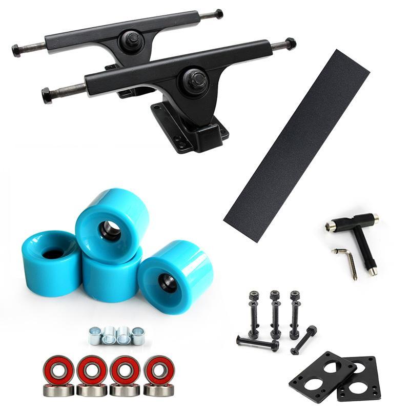 롱 보드 7 인치 트럭 스케이트 보드 70 * 51mm 바퀴 115cm 블랙 사포 ABEC-9 베어링 6mm 가스켓 35mm 볼트