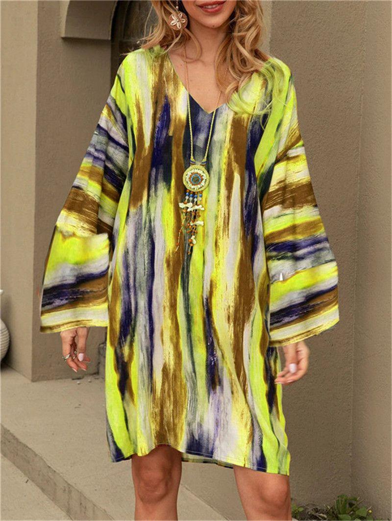 Designer Womens Tie Dyed Dresses Striped Casual Long Sleeve V Neck Fashion Womens Dresses Natural Waist Dress