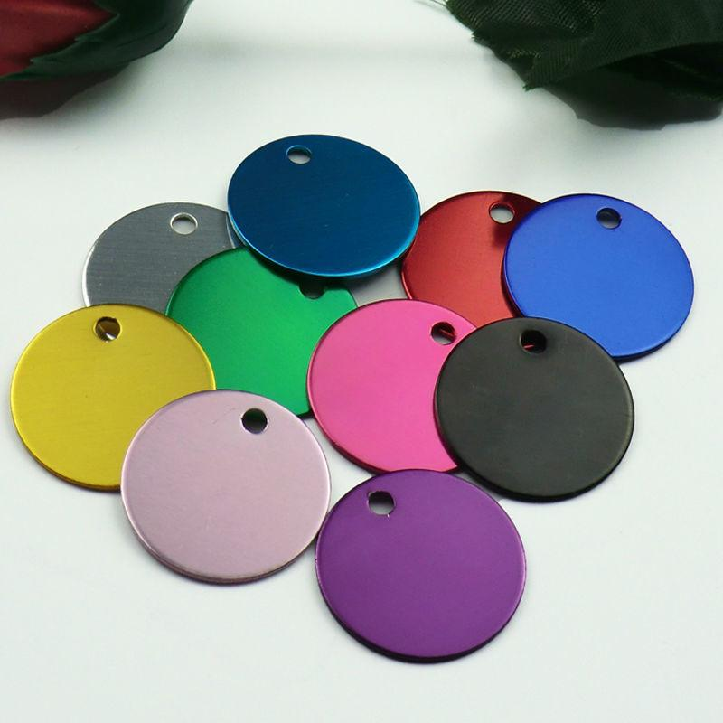 Wholesale 100Pcs Round Tags Dog Pet Id Tags Aluminum Anodizing NamePlate Engraved Dog Number ID Tag Card Charm Personalized CX200725