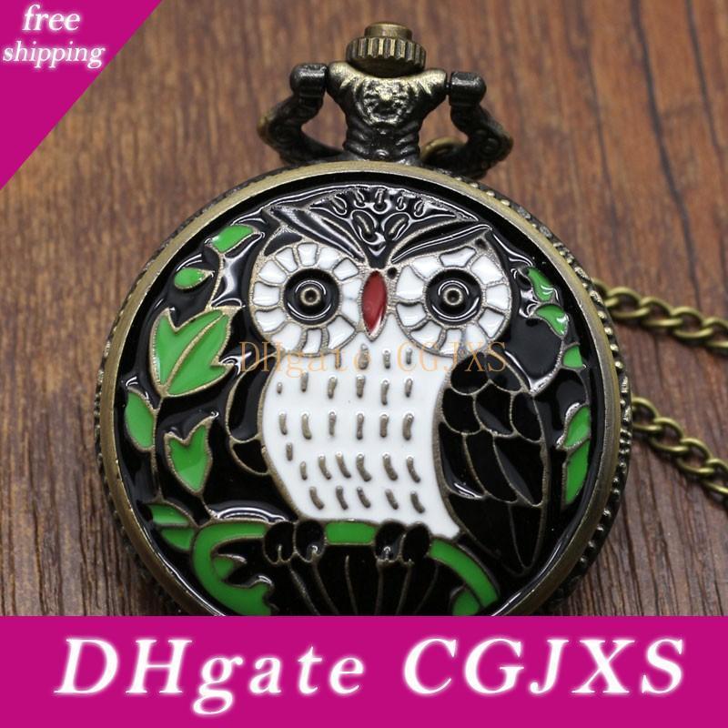 Siyah Night Owl Kuvars İzle Büyük Pocket Saat Kolye kolye Zinciri Erkek Hediye