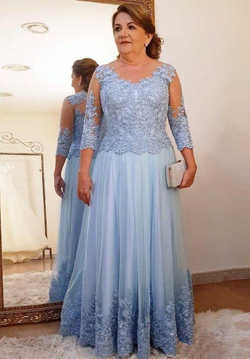 Custom Hecho de la madre del vestido de la novia para la fiesta de bodas Luz azul Lace Tulle 3/4 de manga larga señoras de manga larga VITAJES DE PROM